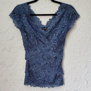 Le Chateau laced blue floral top with sequins